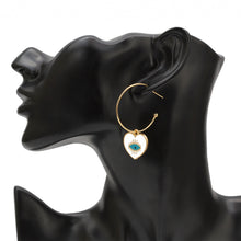 Load image into Gallery viewer, Earrings With Evil Eye Heart Dangle - Evileyes.net