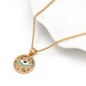 Mystical Multicolor Evil Eye Necklace With CZ - Evileyes.net