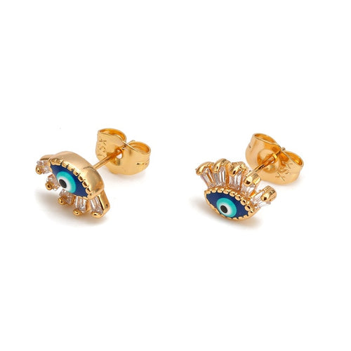 Small Gold Stud Turkish Evil Eye Earrings - Evileyes.net