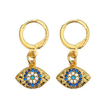 Load image into Gallery viewer, Turkish Evil Eye Micro Paved Earrings