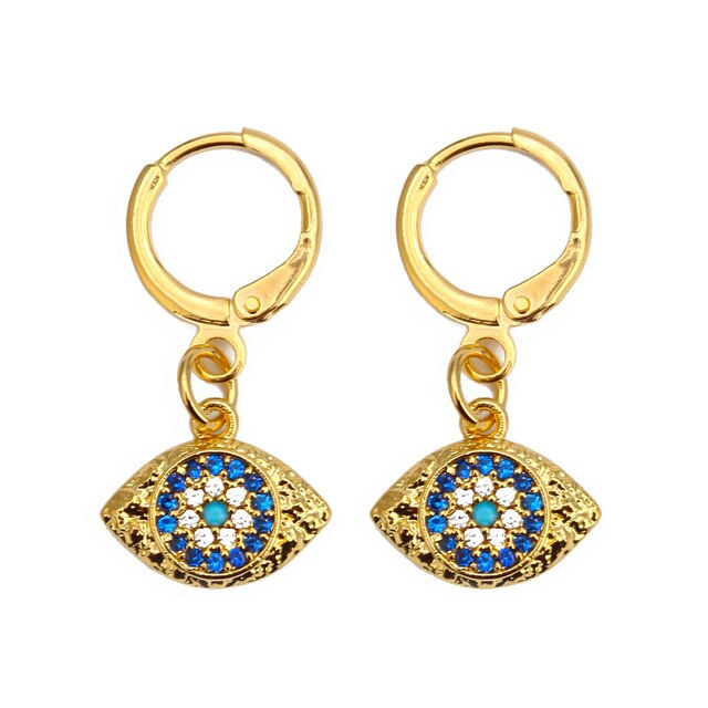 Turkish Evil Eye Micro Paved Earrings - Evileyes.net