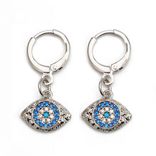 Load image into Gallery viewer, Turkish Evil Eye Micro Paved Earrings - Evileyes.net