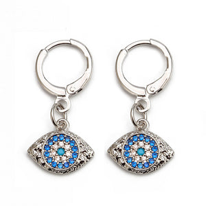 Turkish Evil Eye Micro Paved Earrings