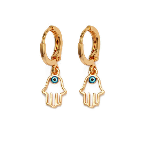 Evil Eye Hanging Hamsa Hand Earrings - Evileyes.net