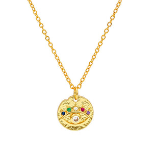 Colorful Evil Eye Necklace With Zirconia