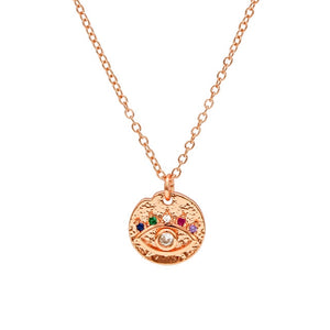 Colorful Evil Eye Necklace With Zirconia - Evileyes.net