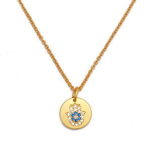 Evil Eye Micro Paved Necklace With Hamsa Hand