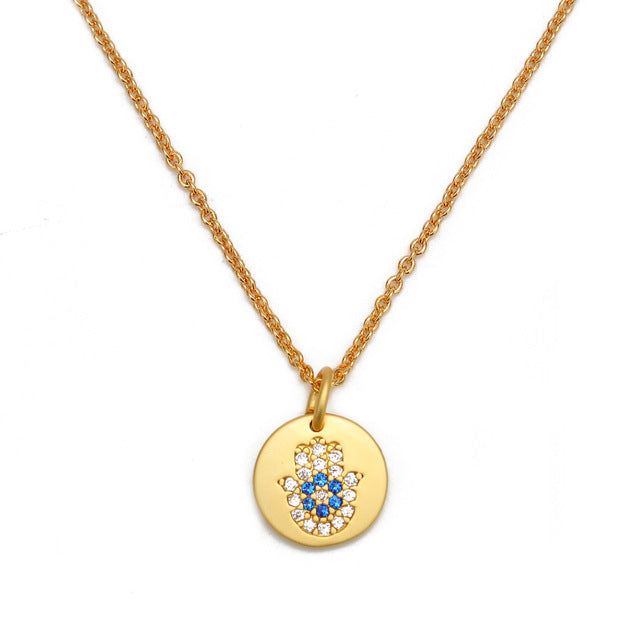 Evil Eye Micro Paved Necklace With Hamsa Hand - Evileyes.net