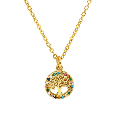 Evil Eye Paved Necklace With Tree of Life