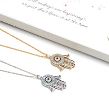 Load image into Gallery viewer, Evil Eye Hamsa Hand Paved Necklace