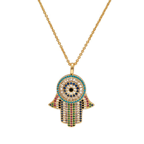 Evil Eye Hamsa Hand Paved Necklace