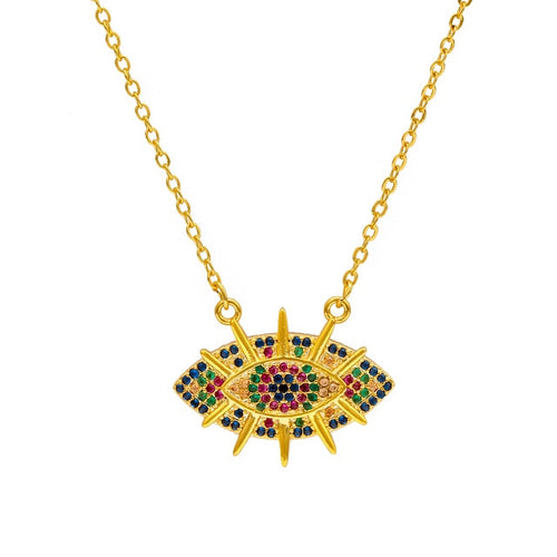 Colorful Micro Paved Gold Evil Eye Necklace