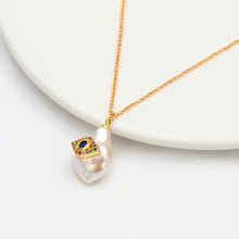 Load image into Gallery viewer, Unique Pearl Evil Eye Gold Necklace