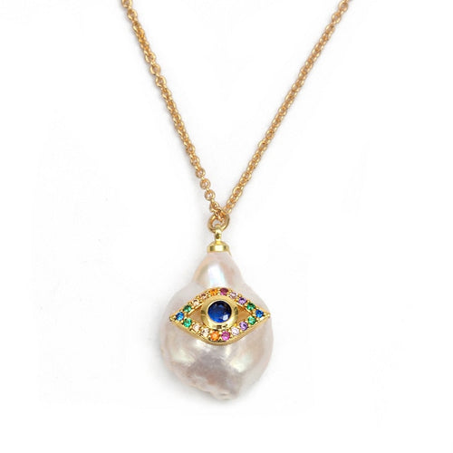 Unique Pearl Evil Eye Gold Necklace