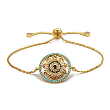 Load image into Gallery viewer, Flower Shaped Evil Eye Micro Paved Bracelet