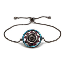 Load image into Gallery viewer, Flower Shaped Evil Eye Micro Paved Bracelet - Evileyes.net