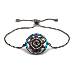 Flower Shaped Evil Eye Micro Paved Bracelet - Evileyes.net