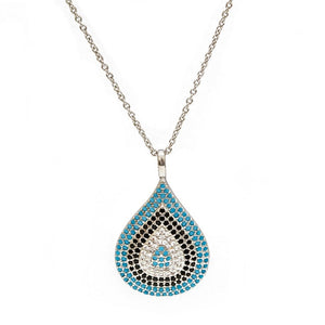 Celebrity Evil Eye Necklace With Water Drop Pendant And Zircon