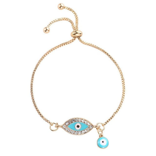 Adjustable Evil Eye Bracelet With Charm - Evileyes.net