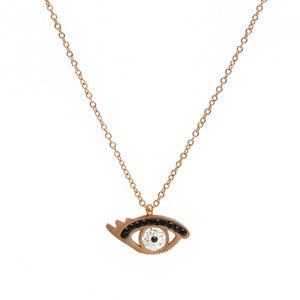 Rose Gold Evil Eye Necklace With Zircon - Evileyes.net