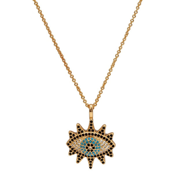 Turkish Evil Eye Necklace With Zirconia - Evileyes.net