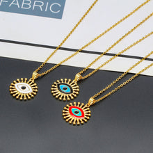 Load image into Gallery viewer, Celebrity Turkish Evil Eye Necklace with Oil Pendant - Evileyes.net