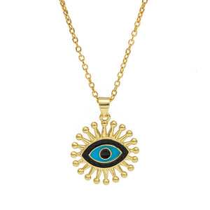 Celebrity Turkish Evil Eye Necklace with Oil Pendant - Evileyes.net