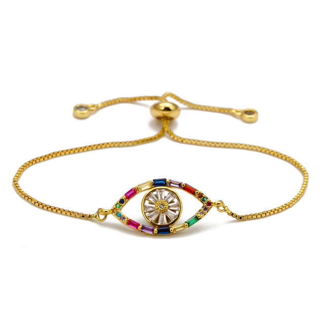 Colorful Adjustable Evil Eye Bracelet with CZ - Evileyes.net
