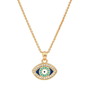 Turkish Style Evil Eye necklace With CZ - Evileyes.net