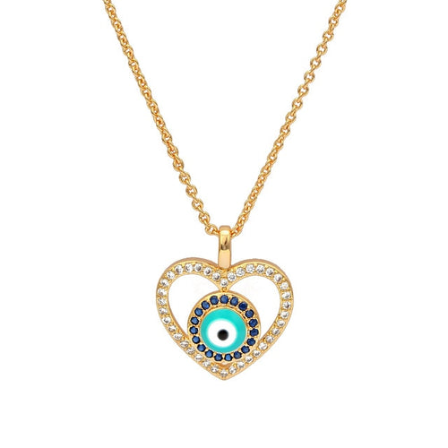 Heart Shaped Evil Eye Necklace with CZ - Evileyes.net