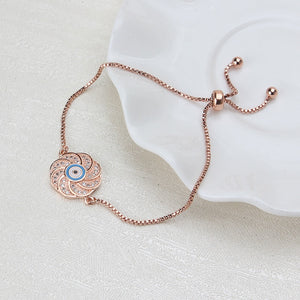 Adjustable Rose Gold Evil Eye Bracelet - Evileyes.net