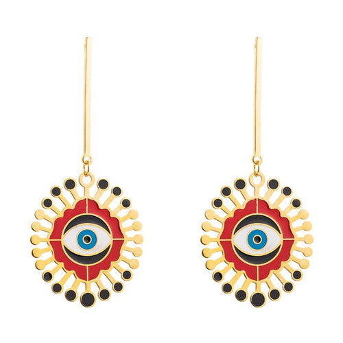 Evil Eye Tassel Drop Earrings