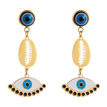 Load image into Gallery viewer, Turkish Evil Eye Dangle Earrings