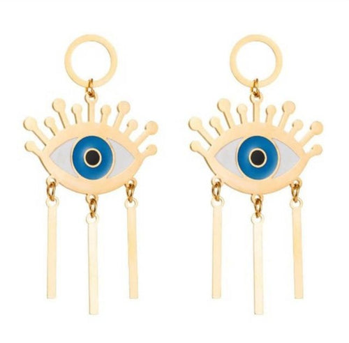 Long Tassel Evil Eye Drop Earrings