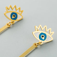 Load image into Gallery viewer, Long Drop Evil Eye Earrings With Rays