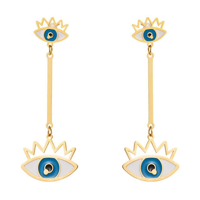 Long Drop Evil Eye Earrings With Rays