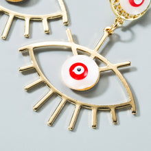 Load image into Gallery viewer, Gold Evil Eye Shell Drop Earrings