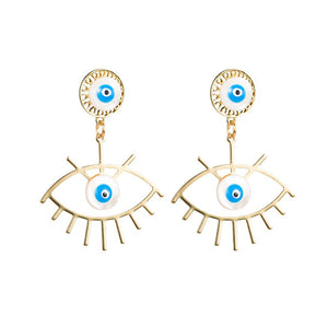 Gold Evil Eye Shell Drop Earrings