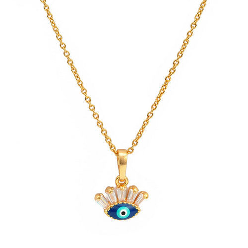 Gold Turkish Evil Eye Necklace With Rays