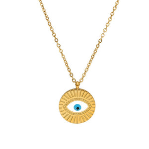 Evil Eye Necklace With Sun Rays