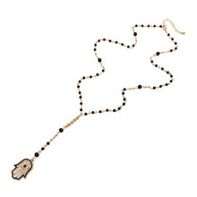 Load image into Gallery viewer, Evil Eye Necklace With Hamsa Hand - Hand of Fatima - Evileyes.net
