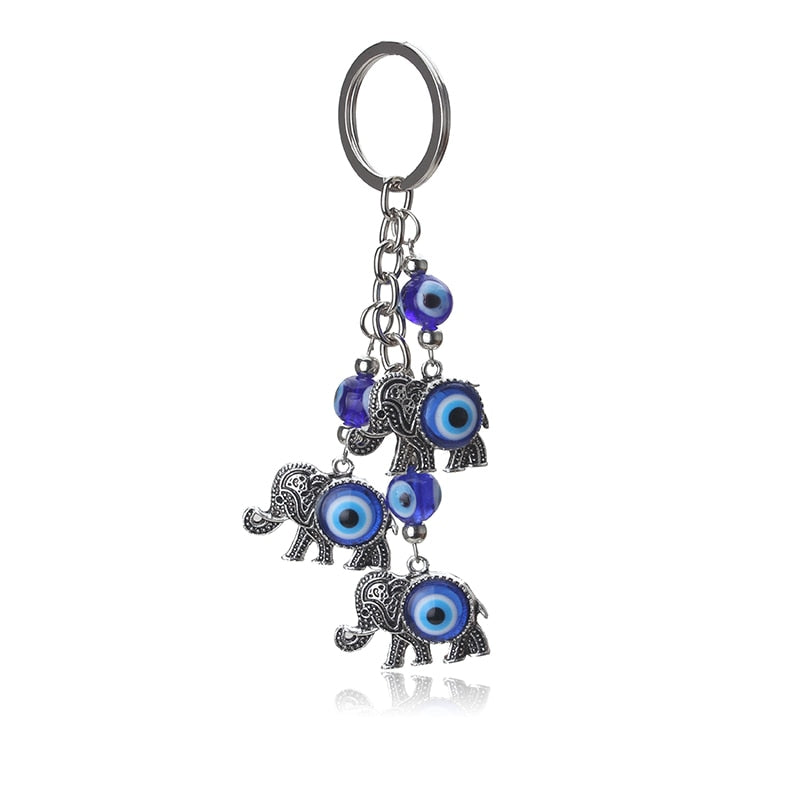 Lucky Elephants Evil Eye Keychain