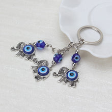 Load image into Gallery viewer, Lucky Elephants Evil Eye Keychain