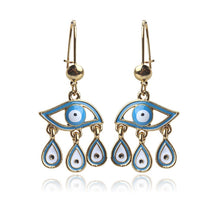 Load image into Gallery viewer, Evil Eye Drop Earrings With Charms - Evileyes.net