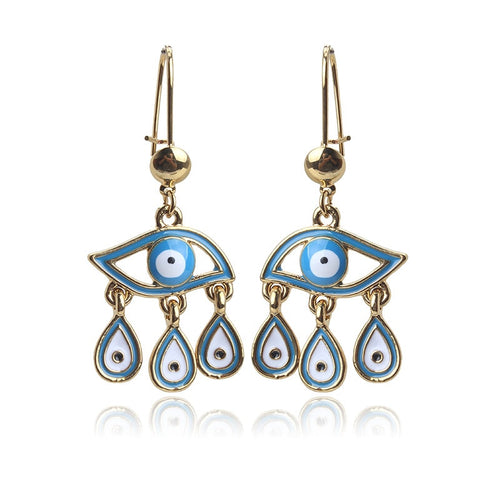 Evil Eye Drop Earrings With Charms - Evileyes.net