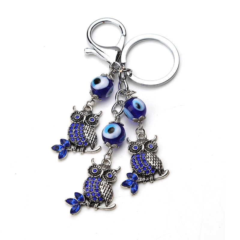 Turkish Evil Eye Keychain With Owl Dangles