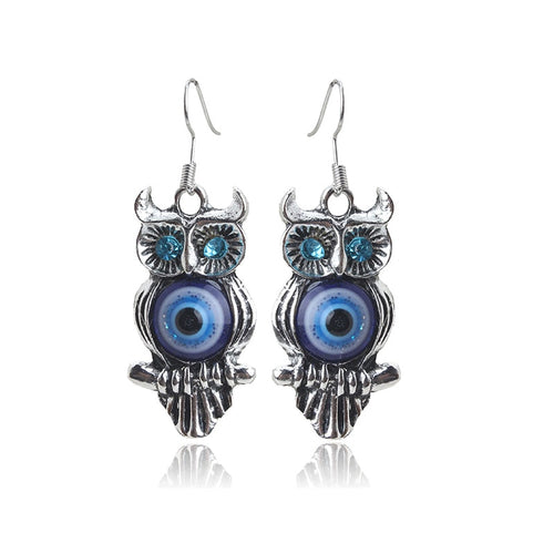 Owl Drop Evil Eye Protection Earrings - Evileyes.net