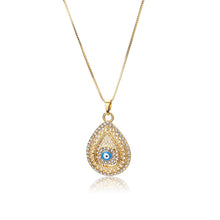 Load image into Gallery viewer, Evil Eye Necklace with Waterdrop Pendant & CZ Stones - Evileyes.net