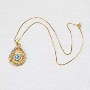 Evil Eye Necklace with Waterdrop Pendant & CZ Stones - Evileyes.net