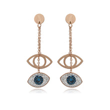 Load image into Gallery viewer, Evil Eye Earrings With 2 Pendants & CZ Stones - Evileyes.net
